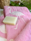 Jacquard Flamingo Hammam Towel &  Natural Olive Oil Soap Set