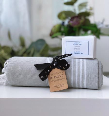 Sultan Hammam Towel &  Natural Olive Oil Soap Set
