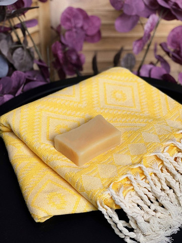 Oriental Hand-loomed Hammam Towel & Olive Oil Soap Set
