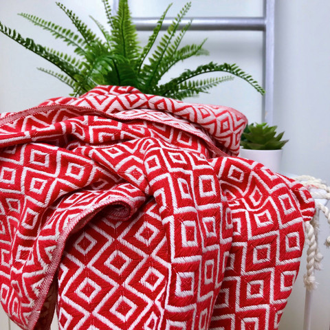 DIAMANTE Hammam-Towel Handloomed Red
