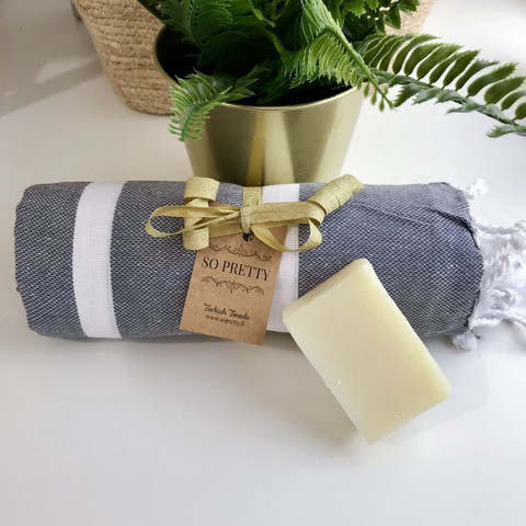 Athena Hammam Towel &  Natural Olive Oil Soap Set