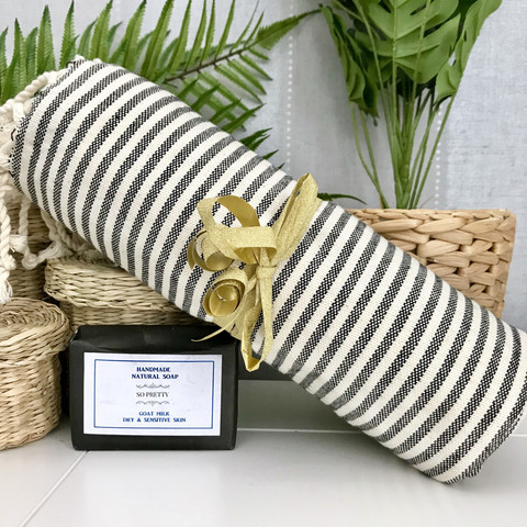 Zebra Hammam Towel &  Natural Olive Oil Soap Set