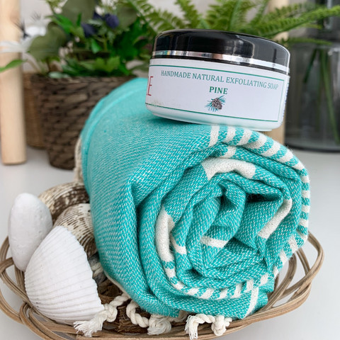 Aegean Hammam Towel &  Natural Olive Oil Hammam Soap Set