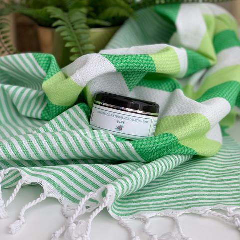 Beach Hammam Towel & Hand made Olive Oil  Hammam Soap set