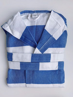 Hammam Bathrobe Ocean Blue-White size: S