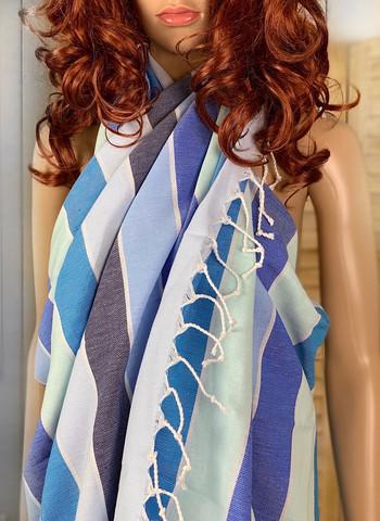 Beach Stripe Hammam Towel Ocean Blue
