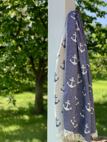 Jacquard Hamam Handduk Anchor Denim
