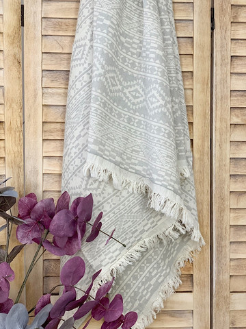 Jacquard Hammam Towel Kilim Light Grey