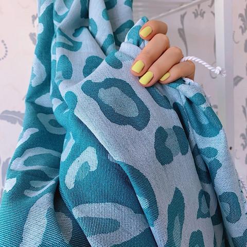 Jacquard Hammam Towel Leopard Petrol Green
