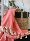 Diamond Stripe Hammam Towel Coral