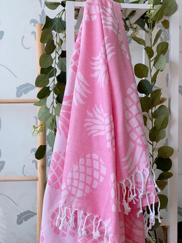 Jacquard Hammam Towel Pineapple Candy Pink
