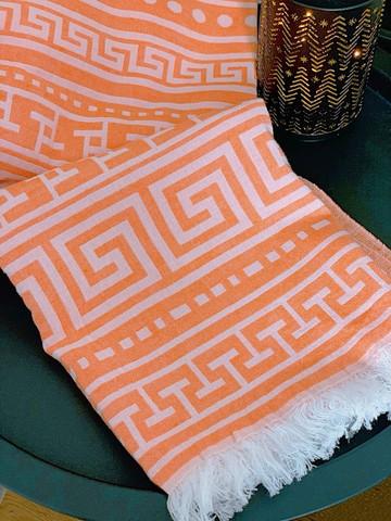 Jacquard Hamam Handduk Greek Orange