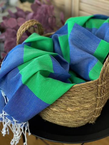 Sunset Hammam Towel Ocean Blue-green