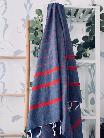 Athena Hammam Towel Denim-Red