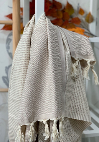 Diamond Stripe Hammam Towel Beige