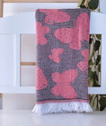 Jacquard Hammam Towel Butterfly Anthracite-Pink