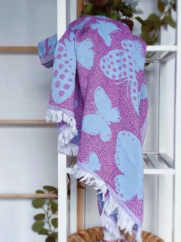Jacquard Hamam Handduk Butterfly Violet-Blå