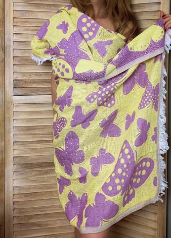 Jakardi Hamam-pyyhe Perhonen Violetti-Keltainen