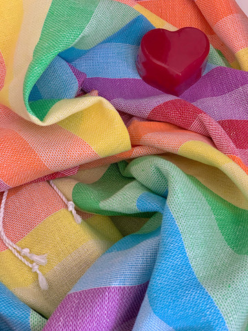Beach Hammam Towel &  Handmade Heart Soap Set