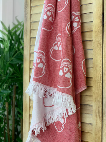 Jacquard Hammam Towel Skull Red