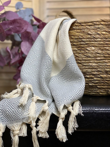 Hand/Face Hammam Towel Diamond Light Grey