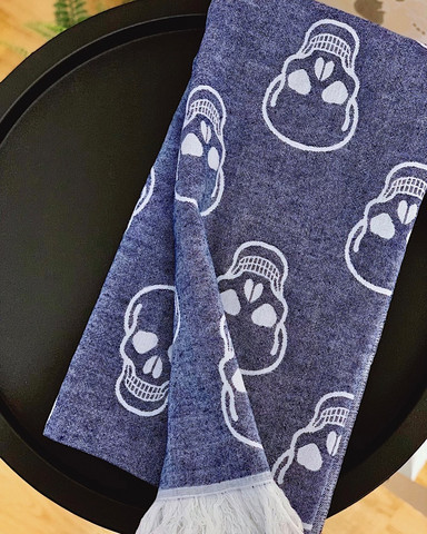 Jacquard Hammam Towel Skull Denim Blue