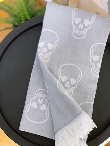 Jacquard Hammam Towel Skull Light Grey