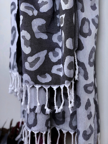 Jacquard Hamam Handduk Leopard Svart