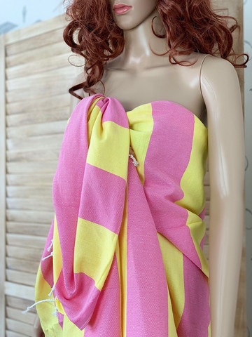 Sunset Hammam Towel Yellow-Pink