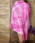 Tie Dye Bamboo Hammam Towel Candy Pink