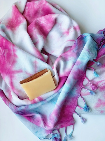 Tie Dye Hammam Towel & Hand made Olive Oil Soap set