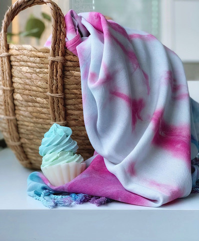 Tie Dye Hammam Towel & Hand made Cupcake Soap Set