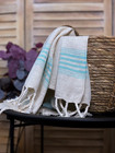 Hand/Face Linen Hand-loomed Hammam Towel Turquoise