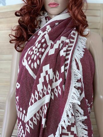 XL Jacquard Hammam Towel Rug Vin Röd