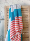 Surf Hammam Towel Coral-Turquoise