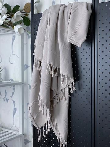 Stonewashed Stripe Hammam Towel Grey Beige