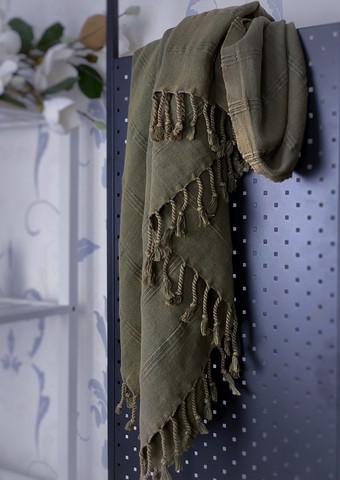 Stonewashed Stripe Hamam Handduk Olive