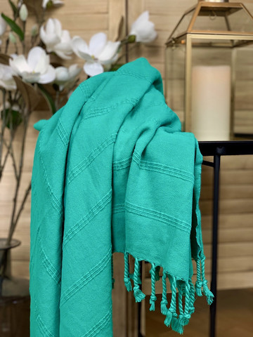 Stonewashed Stripe Hammam Towel Mint