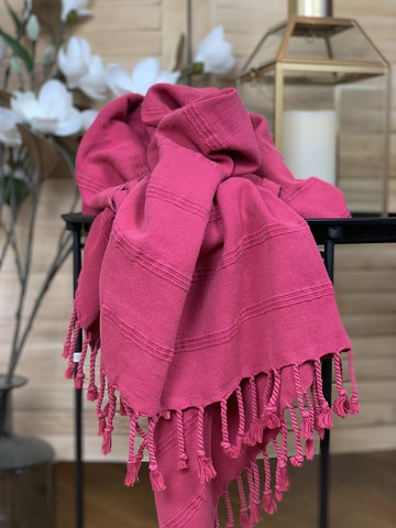 Stonewashed Stripe Hammam Towel Cherry