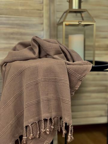 Stonewashed Stripe Hamam Handduk Mocha
