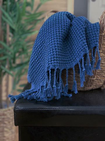 Stonewashed Waffle Hammam Hand/Face Towel Ocean Blue