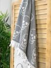 Jacquard Hammam Towel Skull Gray