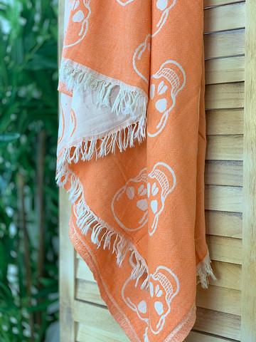 Jacquard Hammam Towel Skull Orange