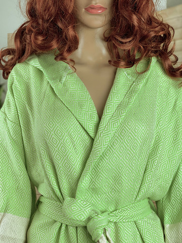 Hammam Bathrobe Diamond Pistachio L