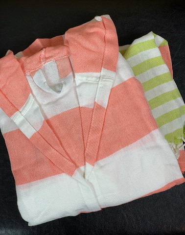Kids' Hammam Bathrobe Coral-Pistachio 3-5y