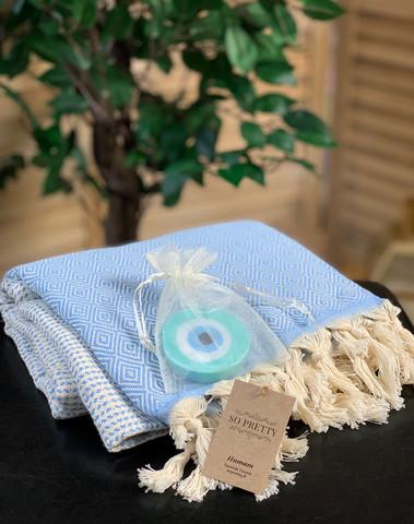 Diamond Hammam Towel & Hand made Evil Eye Soap set