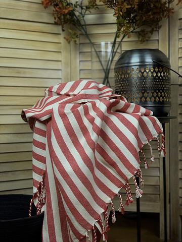 PELLAVA Zebra Käsinkudottu Hamam-pyyhe Punainen