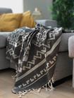 Jacquard Hammam Towel Rug Black