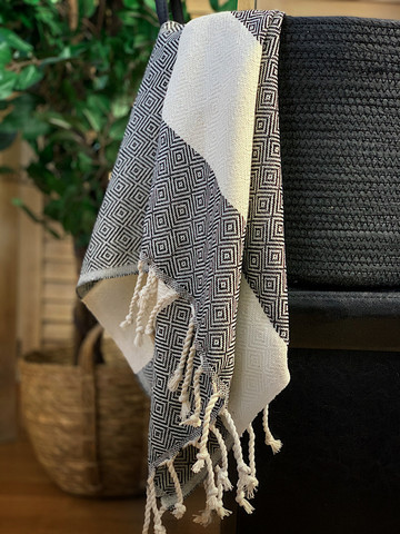 Hand/Face Hammam Towel Diamond Black