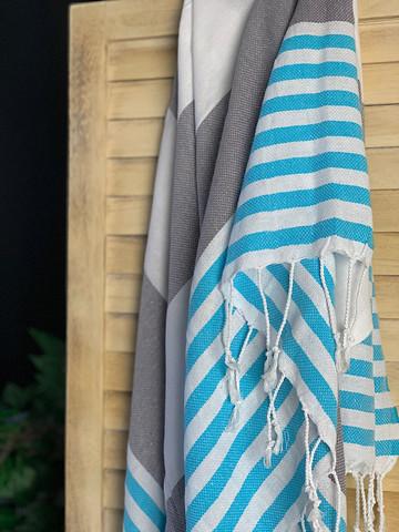 Surf Hammam Towel Gray-Turquoise